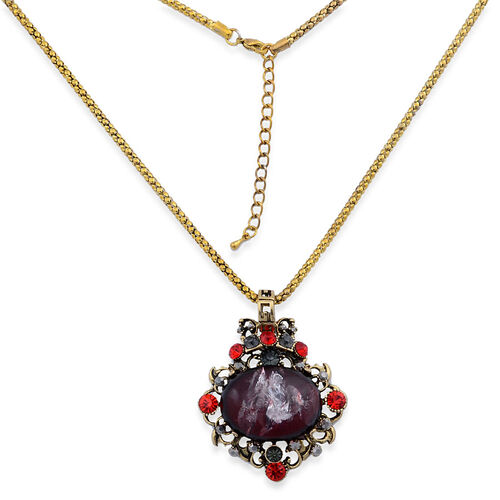 Red and Grey Austrian Crystal, Simulated Stone Pendant with Chain in Gold Tone