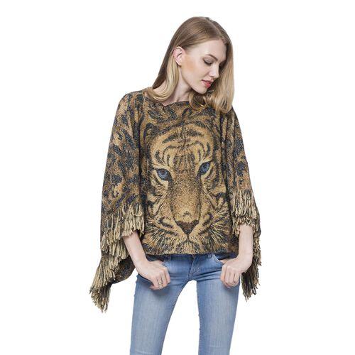 3D Digital Printed Tiger Golden Colour Poncho (Size 110x50 Cm)