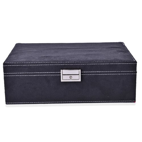 Black Colour Velvet Jewellery Box with Mirror Inside (Size 25X16X8.5 Cm)