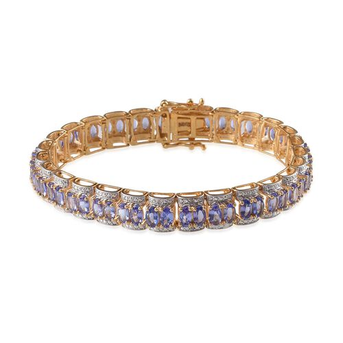 Tanzanite (Ovl), Diamond Bracelet (Size 7) in 14K Gold Overlay Sterling Silver 13.520 Ct.