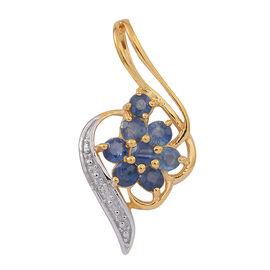 Kanchanaburi Blue Sapphire (Rnd), Natural Cambodian White Zircon Pendant in 14K Gold Overlay Sterling Silver 1.250 Ct.