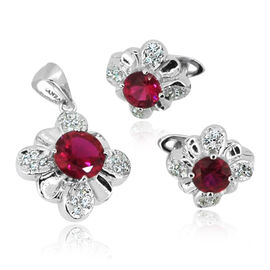 AAA Simulated Ruby (Rnd), Simulated Diamond Earrings (with Clasp) and Pendant in Rhodium Plated Sterling Silver