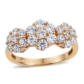 J Francis - 14K Gold Overlay Sterling Silver (Rnd) Triple Floral Ring Made with SWAROVSKI ZIRCONIA
