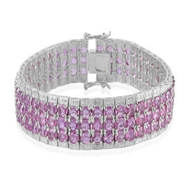 AAA Pink Sapphire (Ovl) Bracelet in Rhodium Plated Sterling Silver (Size 7) 25.000 Ct.
