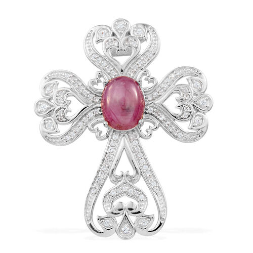 JCK Vegas Collection Star Ruby (Ovl 4.13 Ct), Natural Cambodian Zircon Pendant with Chain in Platinum Overlay Sterling Silver 6.145 Ct.