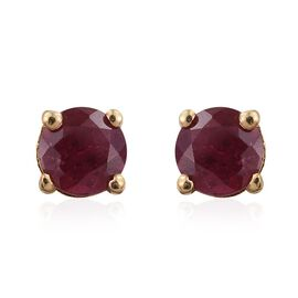 African Ruby Round 0.75 Carat Solitaire Silver Stud Earrings in Gold Overlay.