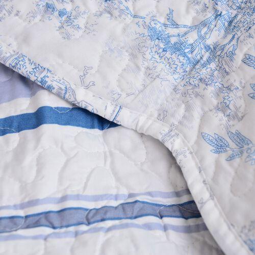 Limited Edition - Toile de Jouy Reversible Printed Quilt, Blue, (Size 260X240 Cm) and 2 Pillow Shams (Size 70X50X5 Cm)