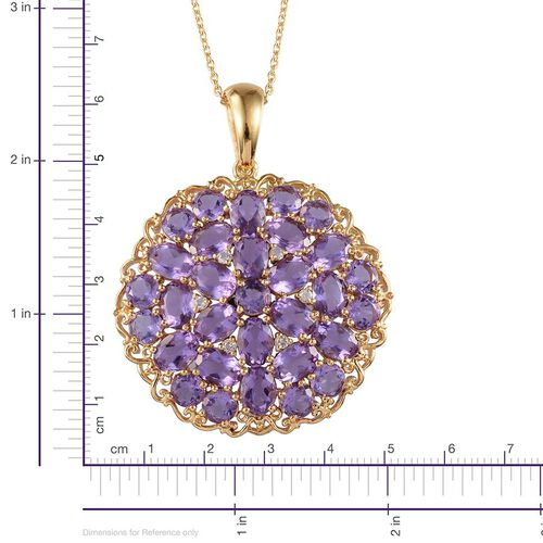 Lavender Alexite (Ovl), White Topaz Cluster Pendant With Chain in 14K Gold Overlay Sterling Silver 16.750 Ct.