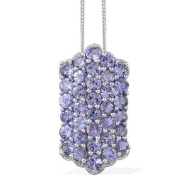 Tanzanite (Rnd) Cluster Pendant With Chain in Platinum Overlay Sterling Silver 4.000 Ct.