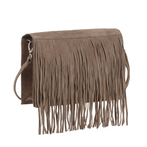 Genuine Leather Dark Beige  Colour Sling Bag with Fringes and Adjustable and Removable Shoulder Strap (Size 28x17x7 Cm)