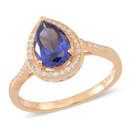 ELANZA AAA Simulated Tanzanite (Pear), Simulated White Diamond Ring in 14K Gold Overlay Sterling Silver