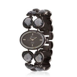 GENOA Japanese Movement Black Dial Water Resistant Watch in Black Tone Strap with Grey Glass