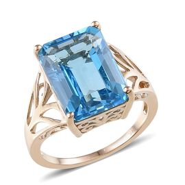 9K Y Gold Electric Swiss Blue Topaz (Oct) Ring 14.750 Ct.