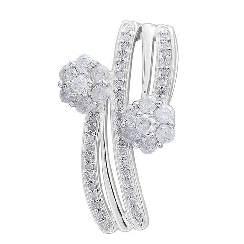 9K White Gold 1 Carat Diamond Twin Floral Pendant SGL Certified I3 G-H