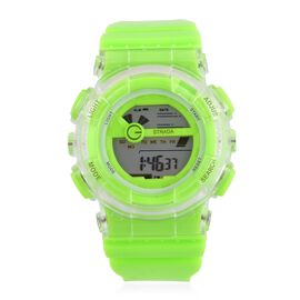 STRADA Electronic Movement 7 Colour Flashing LED Light Green Colour Watch with Stainless Steel Back and Light Green Silicone Strap