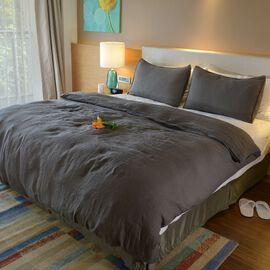 100% Linen Stone Washed Charcoal Colour King Size Duvet Cover (Size 225x220 Cm) and Two Pillow Cases (Size 75x50 Cm), Oeko-Tex Certified