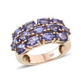 9K Y Gold Tanzanite (Ovl) Cluster Ring 3.250 Ct.