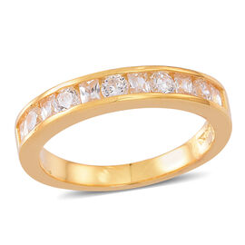 ELANZA AAA Simulated White Diamond (Rnd) Half Eternity Band Ring in 14K Gold Overlay Sterling Silver