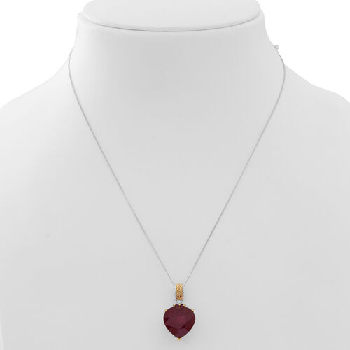 African Ruby (Hrt 15.00 Ct), Burmese Ruby Pendant With Chain in Rhodium Plated and Yellow Gold Overlay Sterling Silver 15.250 Ct.