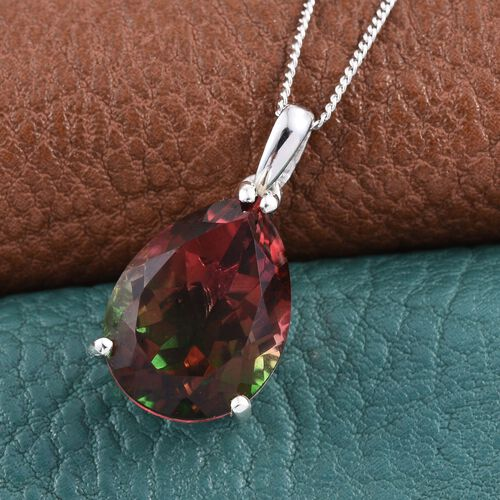 Bi-Color Tourmaline Quartz (Pear) Solitaire Pendant With Chain in Platinum Overlay Sterling Silver 9.500 Ct.