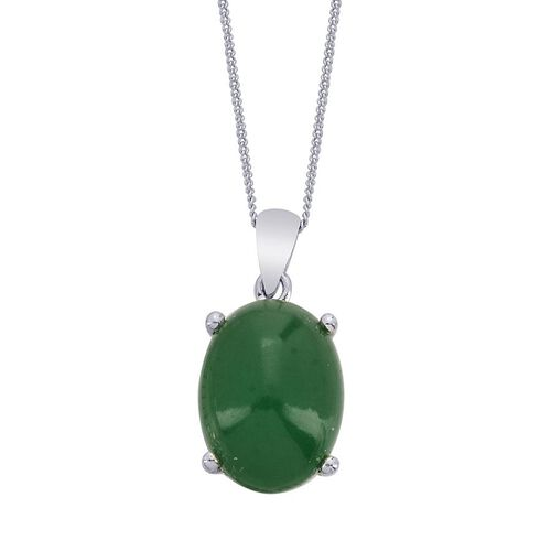 Emerald Quartz (Ovl) Solitaire Pendant With Chain in Platinum Overlay Sterling Silver 10.000 Ct.