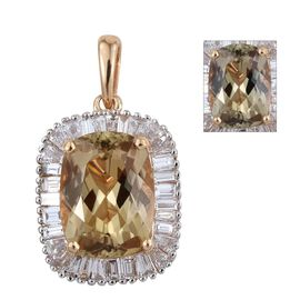 ILIANA 18K Y Gold Natural Turkizite (Cush 4.35 Ct), Diamond Pendant 5.250 Ct.