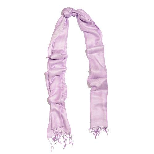 Close Out Deal- 55% Silk Light Purple Colour Scarf with Fringes (Size 200x70 Cm)