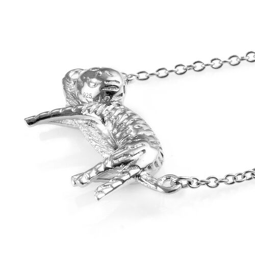 Platinum Overlay Sterling Silver Cat Necklace (Size 18), Silver wt 5.05 Gms.