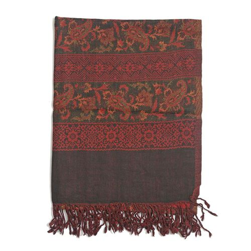 100% Wool Red and Multi Colour Floral and Paisley Pattern Black Colour Scarf (Size 175x65 Cm)