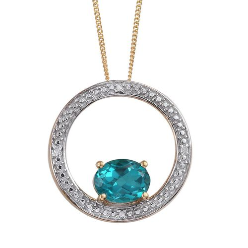 Capri Blue Quartz (Ovl 2.25 Ct), Diamond Pendant With Chain in 14K Gold Overlay Sterling Silver 2.280 Ct.