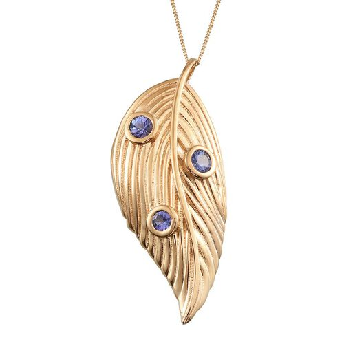 Tanzanite (Rnd) Leaf Pendant With Chain in 14K Gold Overlay Sterling Silver 1.000 Ct.