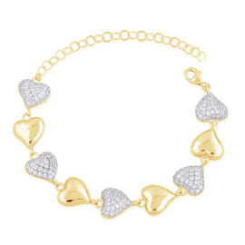 ELANZA AAA Simulated White Diamond (Rnd) Heart Bracelet (Size 6 with 2 inch Extender) in Yellow Gold Overlay Sterling Silver 8.0 Grams