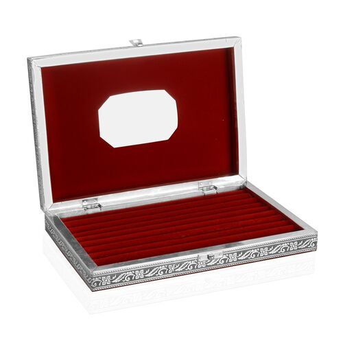 Limited Edition - Handcrafted Horse Embossed 80 Slots Ring Box with Red Velvet and Mirror Inside (Size 28X19X5 Cm)
