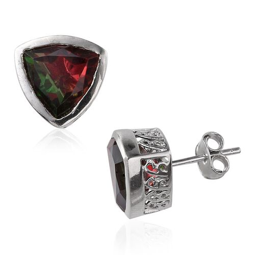 Bi-Color Tourmaline Quartz (Trl) Stud Earrings (with Push Back) in Platinum Overlay Sterling Silver 6.750 Ct.