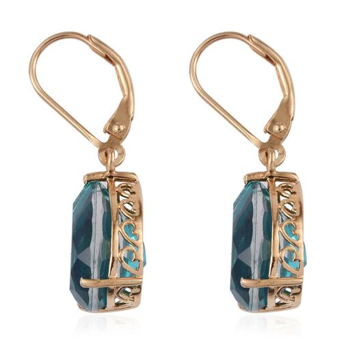 Capri Blue Quartz (Pear) Lever Back Earrings in 14K Gold Overlay Sterling Silver 11.750 Ct.