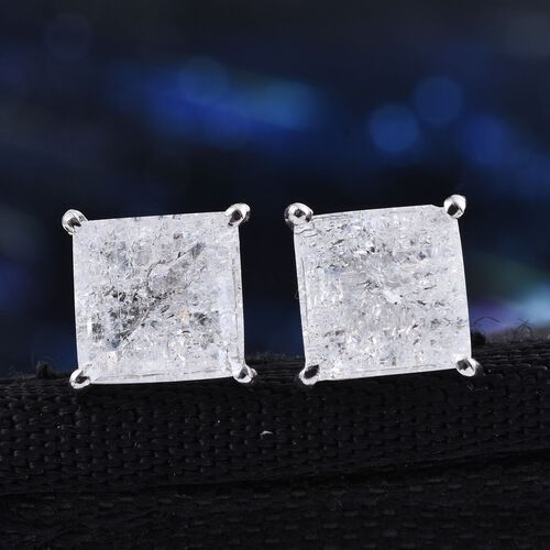 Diamond Crackled Quartz (Sqr) Stud Earrings (with Push Back) in Platinum Overlay Sterling Silver 5.000 Ct.