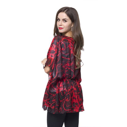 Red and Black Colour Floral Pattern Poncho (Free Size)