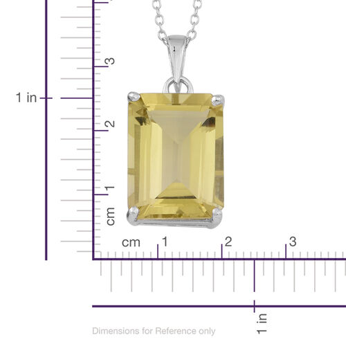 Natural Ouro Verde Quartz (Oct) Solitaire Pendant in With Chain in Rhodium Plated Sterling Silver 9.000 Ct.