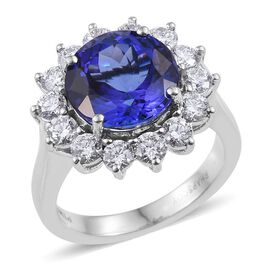 RHAPSODY 950 Platinum AAAA Tanzanite (Rnd 6.00 Ct), Diamond Ring 7.500 Ct.