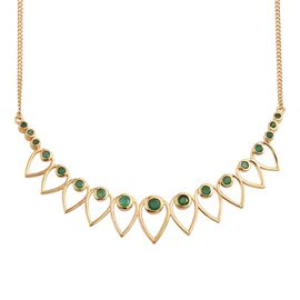Kagem Zambian Emerald (Rnd) Necklace (Size 18) in 14K Gold Overlay Sterling Silver