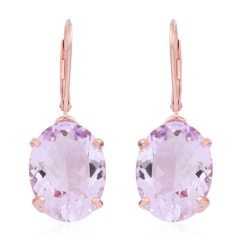 Rare Size AAA Rose De France Amethyst (Ovl) Lever Back Earrings in Rose Gold Overlay Sterling Silver 17.000 Ct.