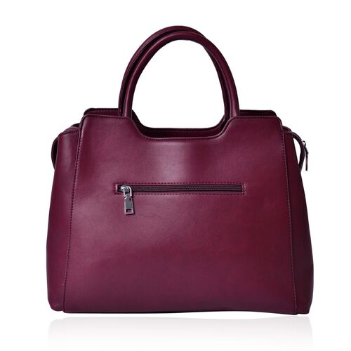 Set of 2 - Burgundy Colour Large Handbag with Adjustable and Removable Shoulder Strap and Small Handbag (Size 36x25x16Cm, 21x11.5 Cm)