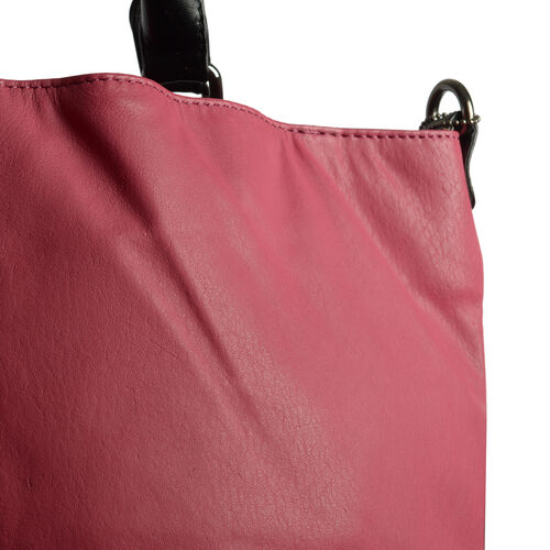 TOP Grain Leather RFID Blocker Raspberry Colour Tote Bag with External Zipper Pocket (Size 40X31X15.5 Cm)