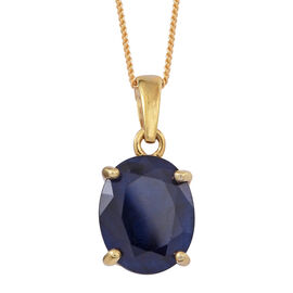 Blue Sapphire (Ovl) Solitaire Pendant With Chain in 14K Gold Overlay Sterling Silver 6.000 Ct.