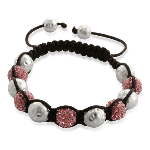 Shamballa Friendship Pink Austrian Crystal Bracelet (Adjustable)