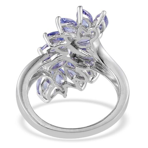Tanzanite (Mrq) Ring in Platinum Overlay Sterling Silver 3.000 Ct.