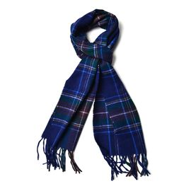 Made with Very Rare 80% Natural Baby Alpaca Wool - Navy Blue Colour Check Pattern Scarf (Size 180x30 Cm)