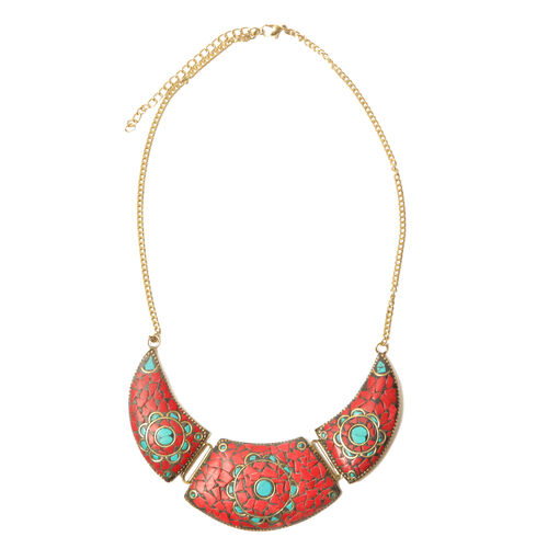 Jewels of India Brass Necklace (Size 20) with Simulated Stone