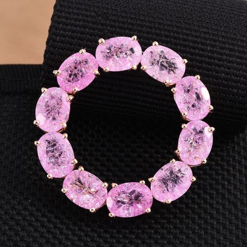 Hot Pink Crackled Quartz (Ovl) Circle of Life Pendant in Rose Gold Overlay Sterling Silver 11.250 Ct.