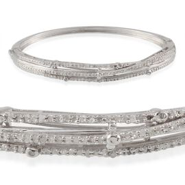 Diamond (Rnd) Bangle (Size 7.5) in Platinum Overlay Sterling Silver 0.490 Ct.